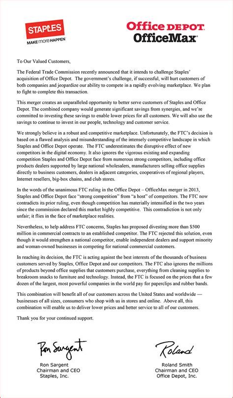 Firm Merger Letter To Clients Staples And Office Depot Issue Open Letter To Customers Regarding Ftc S Decision To Challenge