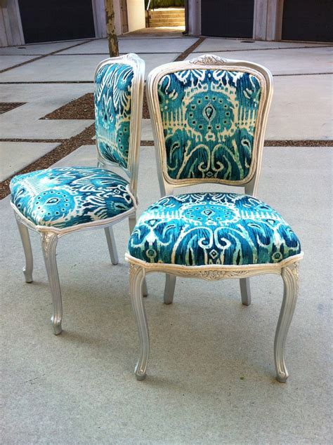 blue fabric armchair ikat french louis xvi dining chairs pair burlap