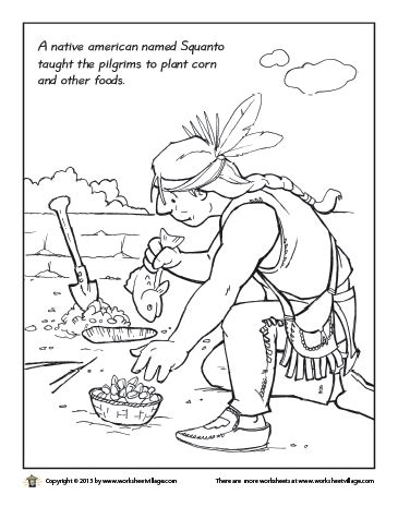 squanto planting corn coloring page