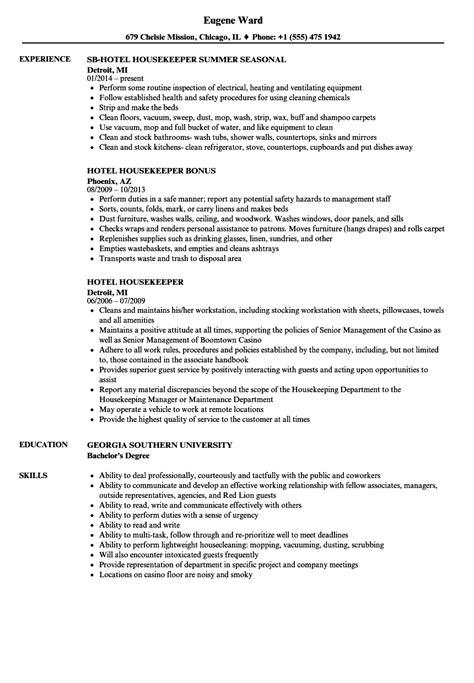 hotel housekeeping supervisor resume sle hotel housekeeper resume sles velvet