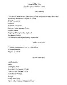 Wedding Order Of Service Template by Doc 585530 Order Of Service Template Free Free