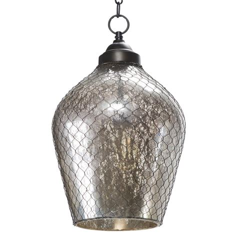 Mercury Pendant Light Colani Industrial Loft Mercury Glass Wire Cage Pendant Kathy Kuo Home