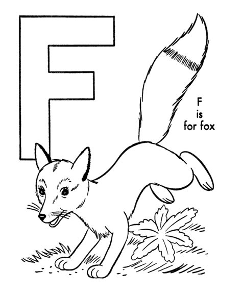 Letter F Home Decor by Name Abc Alphabet Coloring Sheets Fox Animal Page Letter