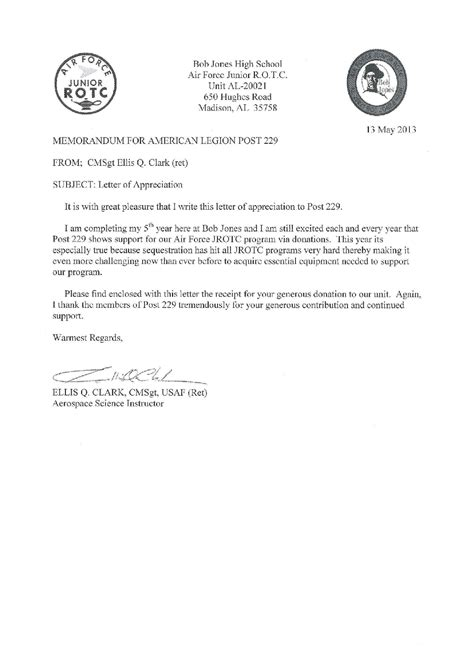 Support Letter Of Appreciation American Legion Post 229 2013 Local Jrotc Letters Of Appreciation