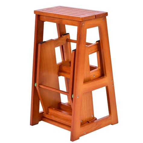 Wood 3 Step Folding Stool by 3 Tier Step Wood Stool Folding Solid Platform Ladder Bench
