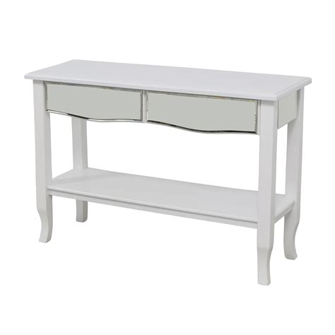 mirrored console tables with drawers 85 off white mirrored console table with two drawers
