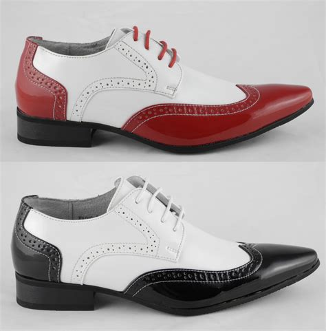 mens patent leather lined pointed toe brogues shoes white black size 6 12