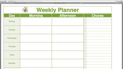 weekly planner calendar template kraftyguts the unorganised
