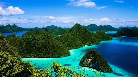 desktop wallpaper hd blue ocean island green forest raja
