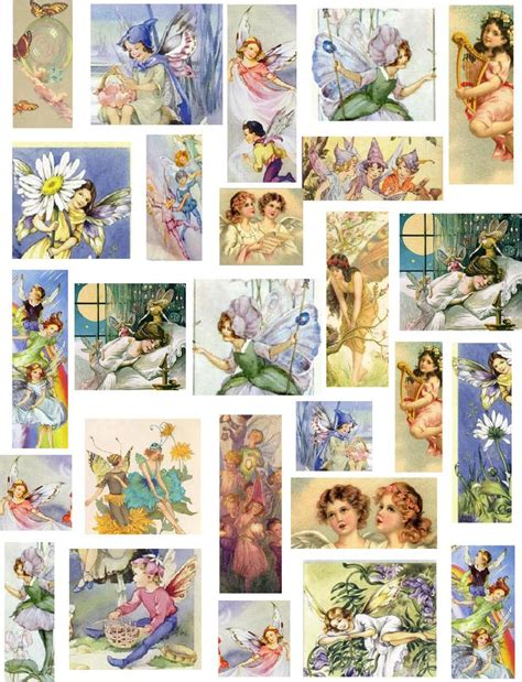 decoupage newspaper vintage children fairies and tag collection and
