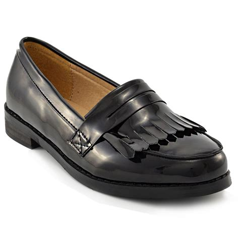 black flat loafers womens black loafers fringe flat office work school