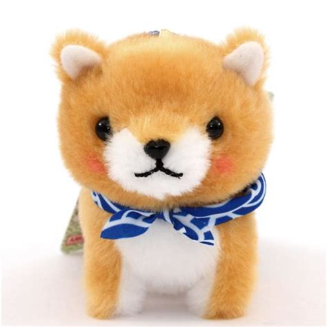 light brown puppy light brown with blue white scarf mameshiba san kyodai plush from japan