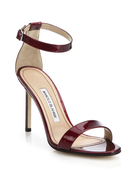 manolo blahnik sandals lyst manolo blahnik chaos patent leather sandals in