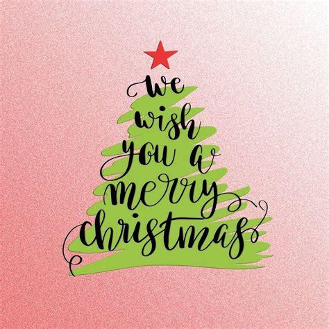 merry christmas tree hand lettering vinyl print shut  front door unframed