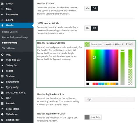 avada theme header color position transparency theme fusion