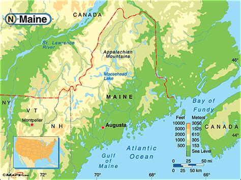 physical map of maine maine physical map by maps from maps world s