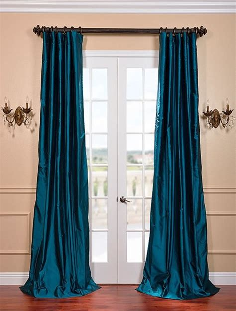 Teal Drapes Curtains Tahitian Teal Silk Taffeta Curtain Curtains San Francisco By Half Price Drapes