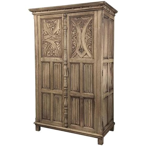 gothic armoire antique stripped gothic hand carved solid oak armoire at
