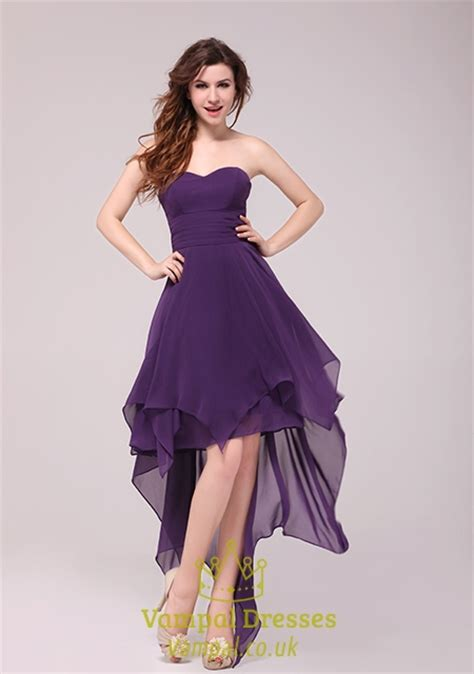 Purple Strapless Dress purple strapless high low cocktail dress formal gown