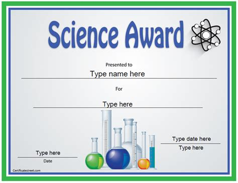 education certificates science award template