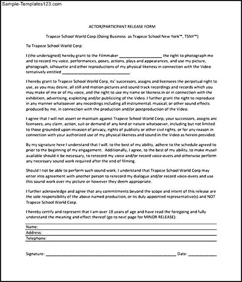 actor release form template downloadable actor release form sle templates