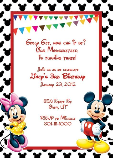 Minnie Mouse Blank Invitation Template Car Interior Design Mickey Mouse Invitation Template
