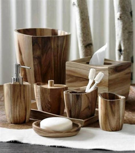 Lodge Bathroom Accessories Quot Acacia Quot Wood Bath Accessories By Kassatex Rustic Bathroom Accessories Denver By