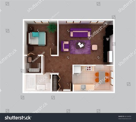 plan view plan view house clear 3d interior stock illustration