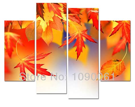 4 piece frameless colourful leaf trees canvas painting modern autumn theme hand oil painting tree leaves 4 piece