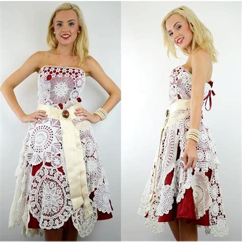 Dress Import 4404 antique brooch crochet doily satin wedding 50 s rockabilly bridal dress 10 s ebay