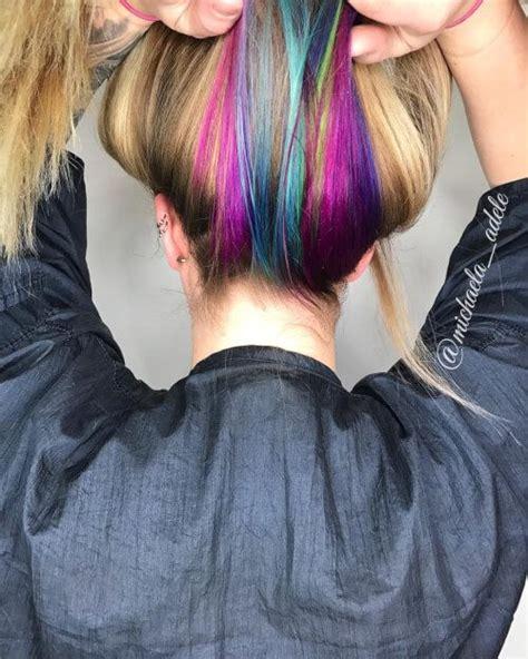 rainbow color hair ideas hidden unicorn rainbow hair color cute and colorful hair
