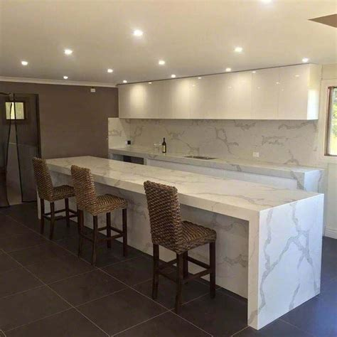 White Cabinets Concrete Countertops by Calacatta Classique Stuns With Its Gorgeous White Marble