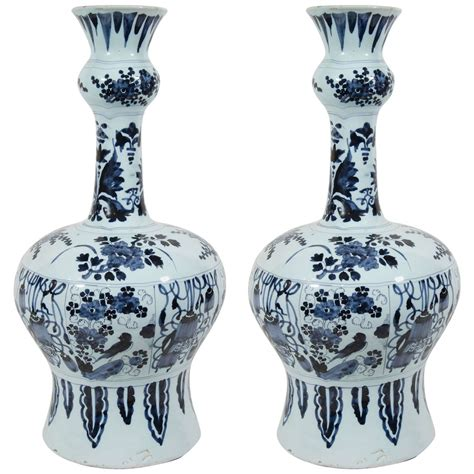 Blue Delft Vase by Pair Of Large Delft Blue And White Vases At 1stdibs
