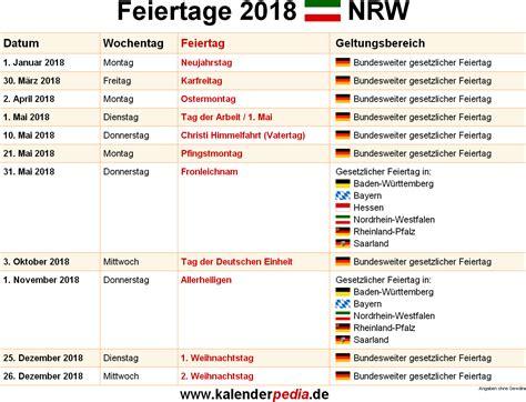 Kalender 2018 Mit Feiertagen Rheinland Pfalz Feiertage Nrw 2018 2019 2020 Mit Druckvorlagen