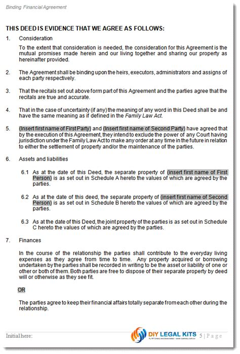 de facto agreement template cohabitation agreement peaceful path to settlement