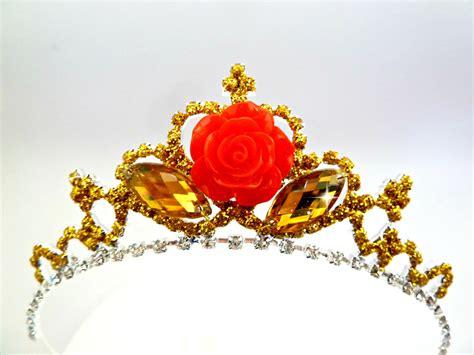 rose tiara princess belle crown belle gold red rose tiara the beauty
