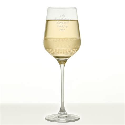 Exclusive Personalised Wine Glass With Diamond Cut Pattern