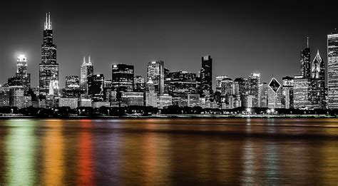in color chicago chicago skyline black and white with color reflection