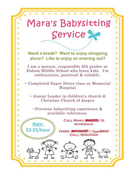 babysitting flyer template scrap happy babysitting flyer using mds