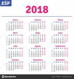 Calendario 2018 De Mexico Espa 241 Ol Calendario 2018 Vector De Stock 169 Rustamank