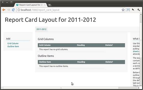 layout of report card report sheets and report cards the schooltool book