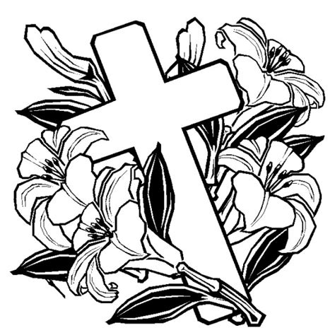 coloring pages of roses and crosses cross with flowers coloring page clipart best