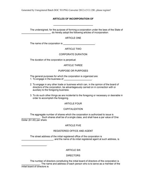 articles of incorporation template free sle articles of incorporation form