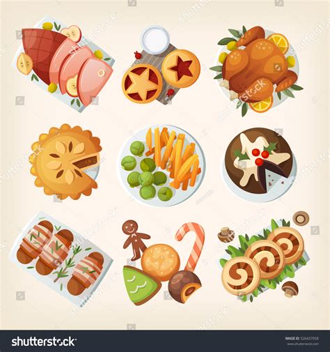 foods traditions dinners desserts cookies traditions songs lores about books traditional family dinner table stock vector