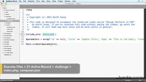 tutorial php activerecord challenge apply the active record pattern