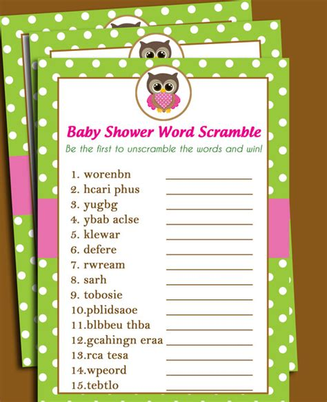 printable owl games 50 off sale owl baby shower word scramble printable