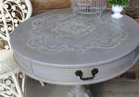 distressed stenciled table makeover in the