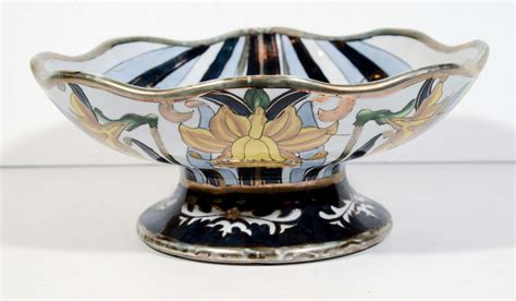footed bowl centerpiece italian earthenware footed centerpiece bowl designed by g fieravino at 1stdibs