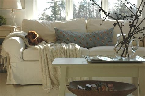 Apartment Size Slipcovered Sectional Sumptuous Slipcover In Living Room Eclectic With