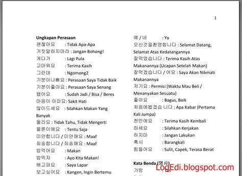 kosakata bahasa korea lengkap pdf